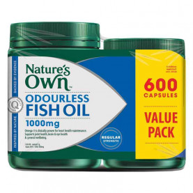Nature's Own Odourless Fish Oil Capsules 1000mg 600 Exclusive Pack