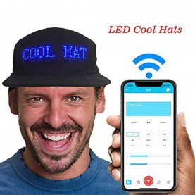 Caps glowing led bluetooth multilingual display