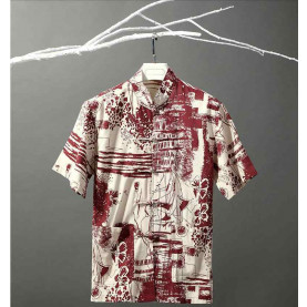 Nation style cotton and linen T-shirt