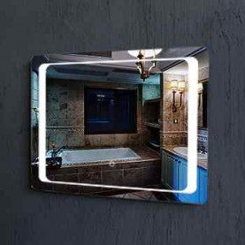Hot sell modern large wall hung mirror attached light decorative mirrors for bathroom