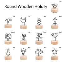 NEW 4CM Creative Round Wooden Note Picture Frame Clip Table Number Wedding Photo Holder Photo Clip Memo Name Card Pendant Holder