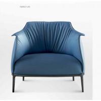 Leather single sofa (Smoky blue)