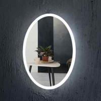 Oval Shape Frameless Bathroom Mirror With Led Lights