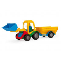 WADER tractor with bucket and freight trailer