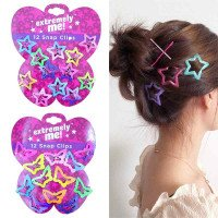 Beautiful Kids Pentagram Hair Clips Glitter BB Clips Buterfly Farben 12PCS/Set Kinder Asymptotic Farbe Candy Color Star Girls