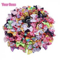 I tuoi archi 100 Pcs / lot mini Pringting Ribbon Bow Pet Bowknot Craft SOLO BOW NO CLIPS WEDDING Decor Hair Accessori all'ingrosso